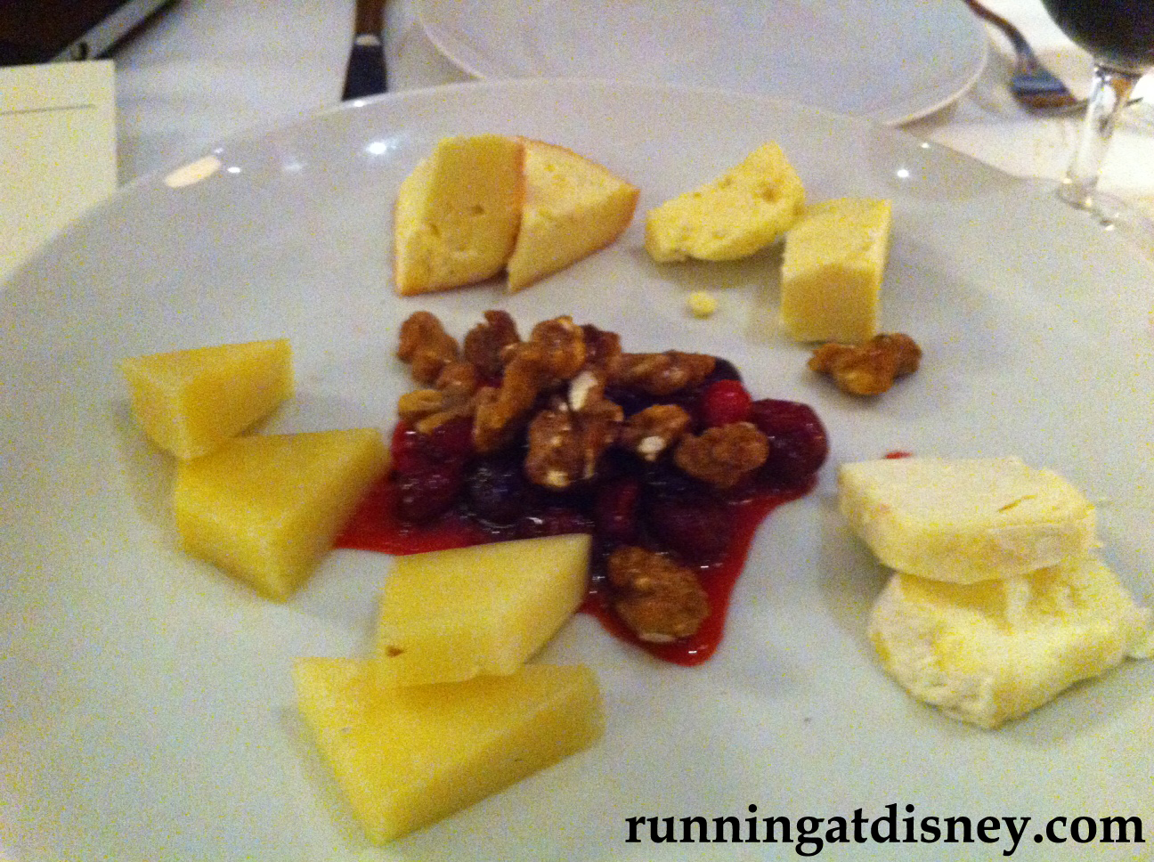 Cheese selection with a Cranberry Walnut Chutney