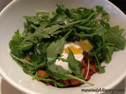 Turkey-Sweet Potato Hash with Poached Eggs & Arugula Salad