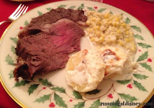 Christmas Eve DinnerRib Roast, Creamed Corn and Scalloped Potatoes