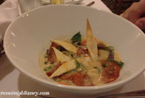"""Calico Bay Scallops in a """"Chowda' Sauce with Oyster Crackers, Fennel, Capers and Chorizo"""