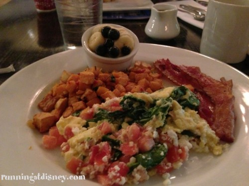 Spinach, Tomato & Feta Scramble with Sweet Potato Hash & Bacon