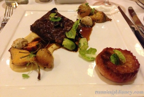Braised Short Ribs with Baby Root Vegetables, Heirloom Apple and Natural Jus