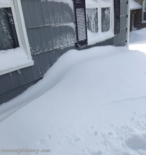 Snow on the front of the house...