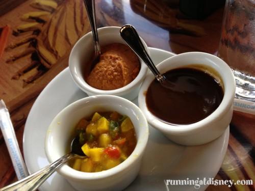 Clockwise from the top: Red Bell Pepper Hummus, Tamarind Chutney, Mango Chutney