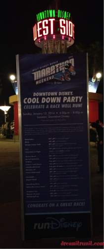 Banner detailing all discounts to runners for the evening