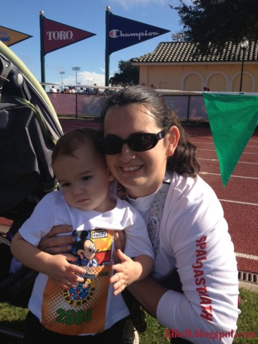 Cole's getting ready to run with mommy