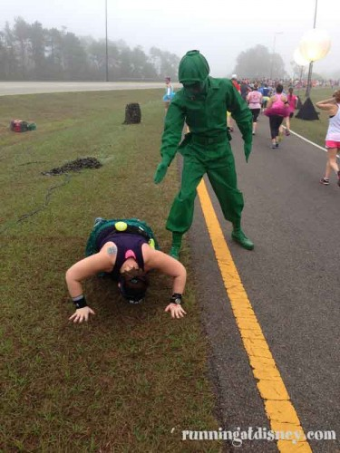 Push Ups at Mile 10 of the Princess Half