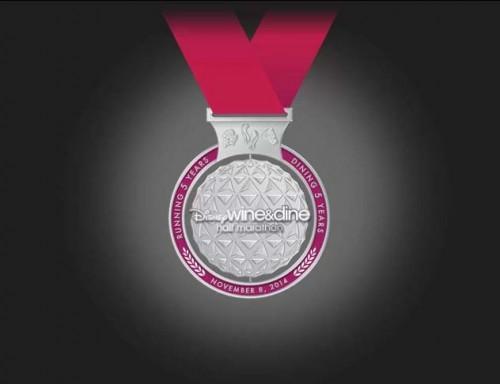 2014-Wine-Dine-Half-Marathon-Medal-5th-Anniversary-Front