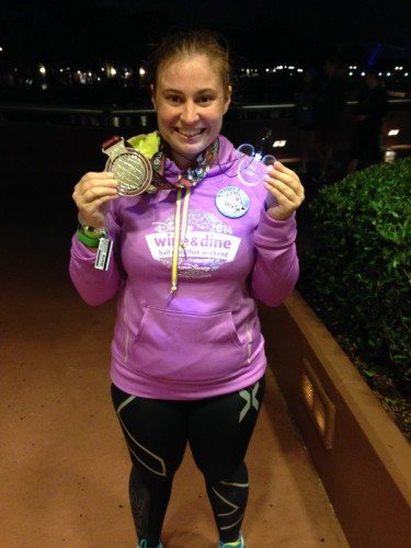 Very happy to have my medal and be in dry clothes!