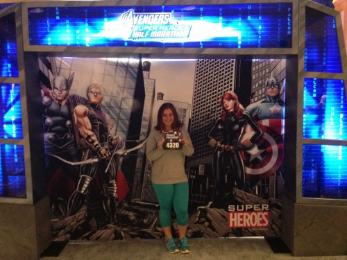 The cute Avengers background at the expo was the perfect photo opportunity!