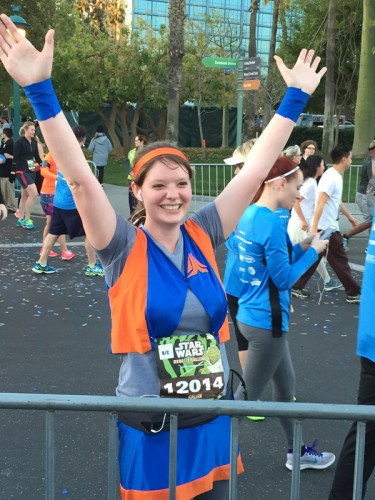 Snapped right after crossing the finish line, you can see the euphoria on my face.